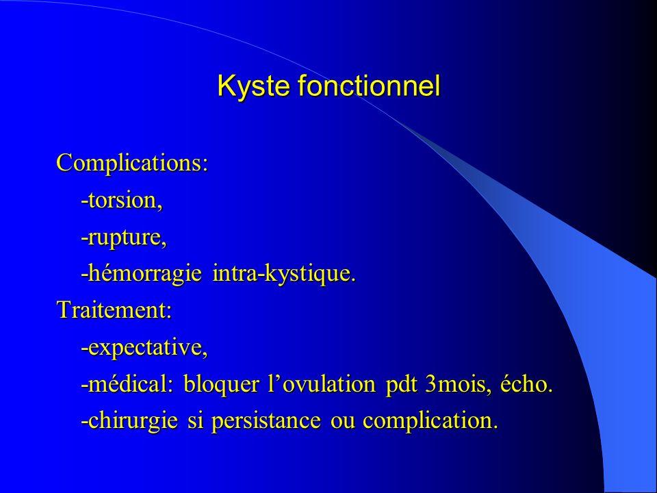 Kyste fonctionnel Complications:-torsion,-rupture, -hémorragie intra-kystique. Traitement:-expectative, -médical: bloquer lovulation pdt 3mois, écho.