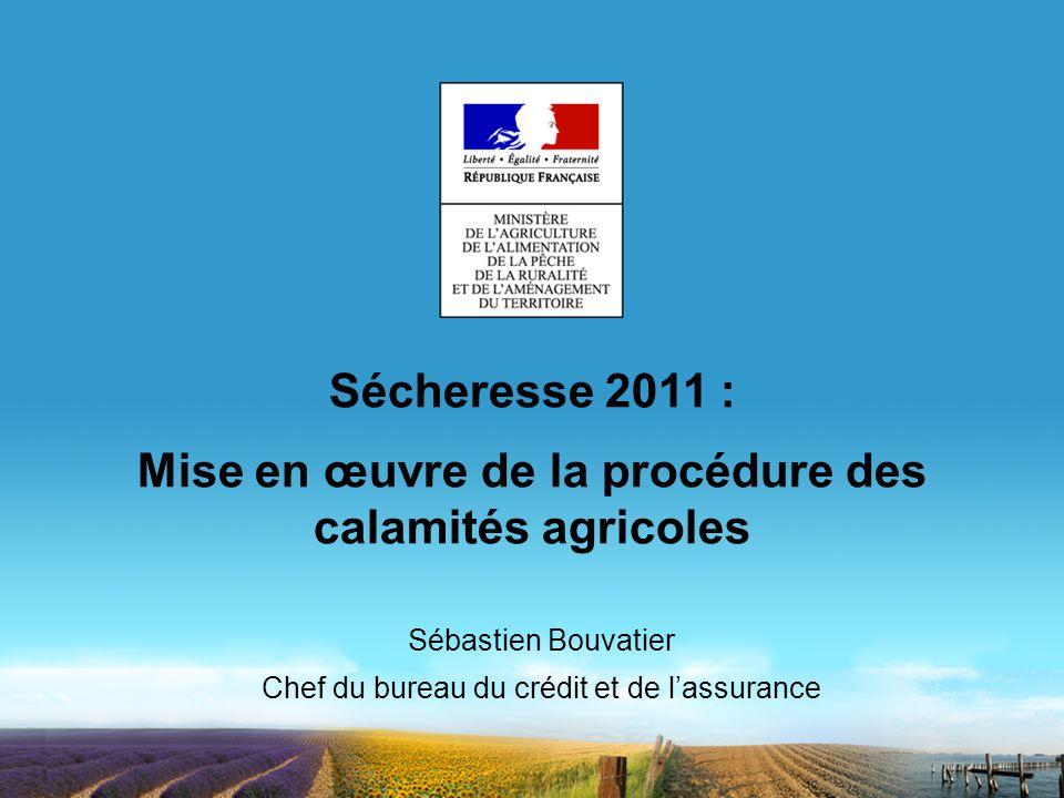 Sécheresse 2011 : Mise en œuvre de la procédure des calamités agricoles Sébastien Bouvatier Chef du bureau du crédit et de lassurance