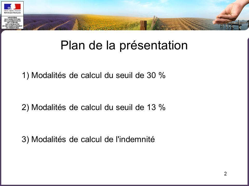 2 1) Modalités de calcul du seuil de 30 % 2) Modalités de calcul du seuil de 13 % 3) Modalités de calcul de l'indemnité Plan de la présentation
