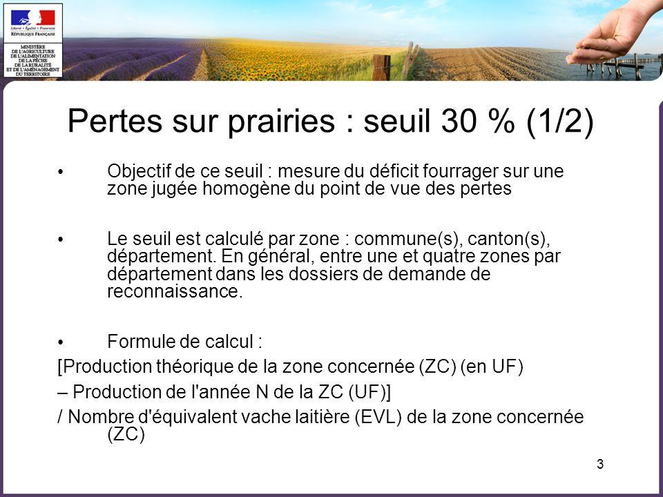 3 Objectif de ce seuil : mesure du déficit fourrager sur une zone jugée homogène du point de vue des pertes Le seuil est calculé par zone : commune(s)