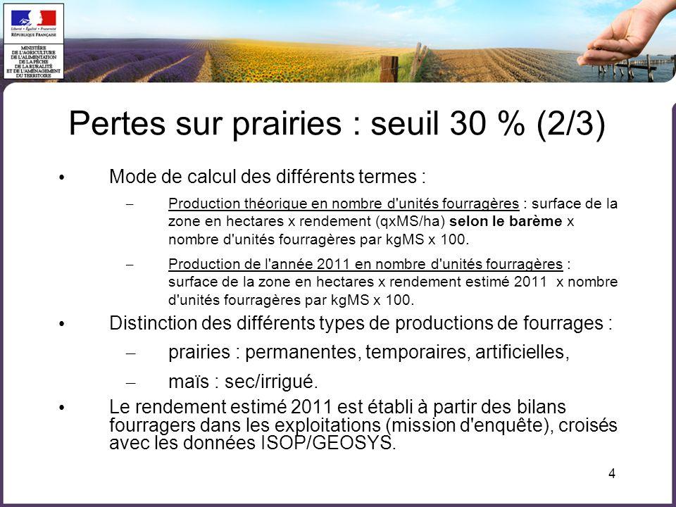 4 Mode de calcul des différents termes : – Production théorique en nombre d'unités fourragères : surface de la zone en hectares x rendement (qxMS/ha)