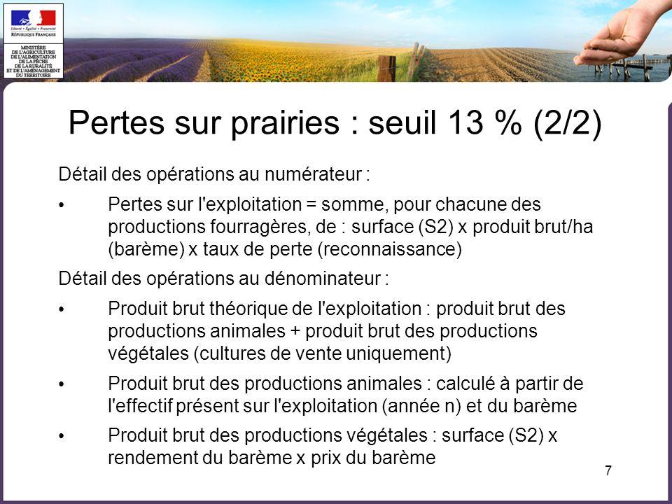 7 Détail des opérations au numérateur : Pertes sur l'exploitation = somme, pour chacune des productions fourragères, de : surface (S2) x produit brut/