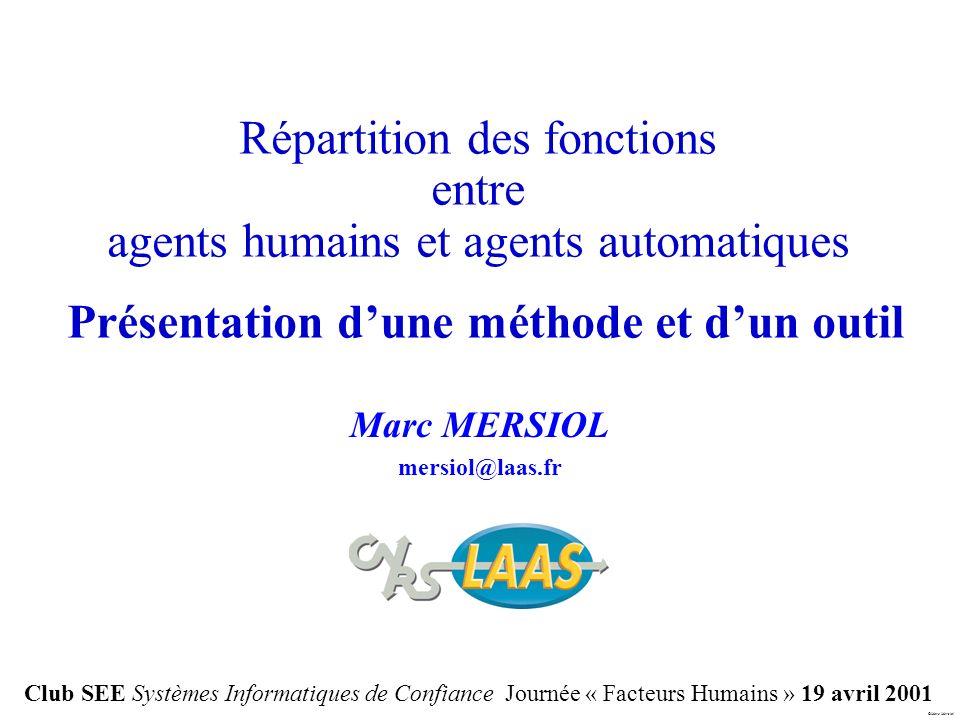 Marc Mersiol Marc MERSIOL mersiol@laas.fr Répartition des fonctions entre agents humains et agents automatiques Présentation dune méthode et dun outil