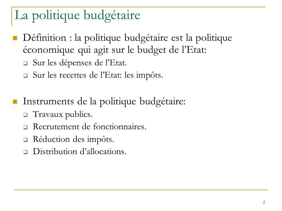 3 La politique budgétaire Objectif de la politique budgétaire: agir sur la demande (soit directement, soit indirectement sur celle des autres agents) pour augmenter la production.