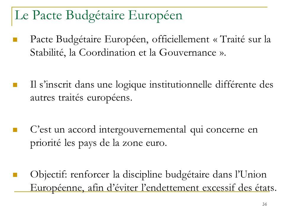 36 Le Pacte Budgétaire Européen Pacte Budgétaire Européen, officiellement « Traité sur la Stabilité, la Coordination et la Gouvernance ». Il sinscrit