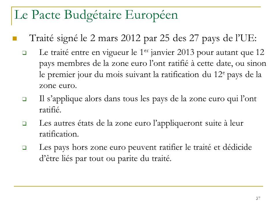 37 Le Pacte Budgétaire Européen Traité signé le 2 mars 2012 par 25 des 27 pays de lUE: Le traité entre en vigueur le 1 er janvier 2013 pour autant que