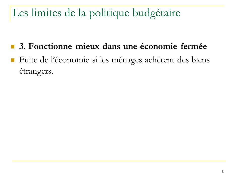 8 Les limites de la politique budgétaire 3. Fonctionne mieux dans une économie fermée Fuite de léconomie si les ménages achètent des biens étrangers.