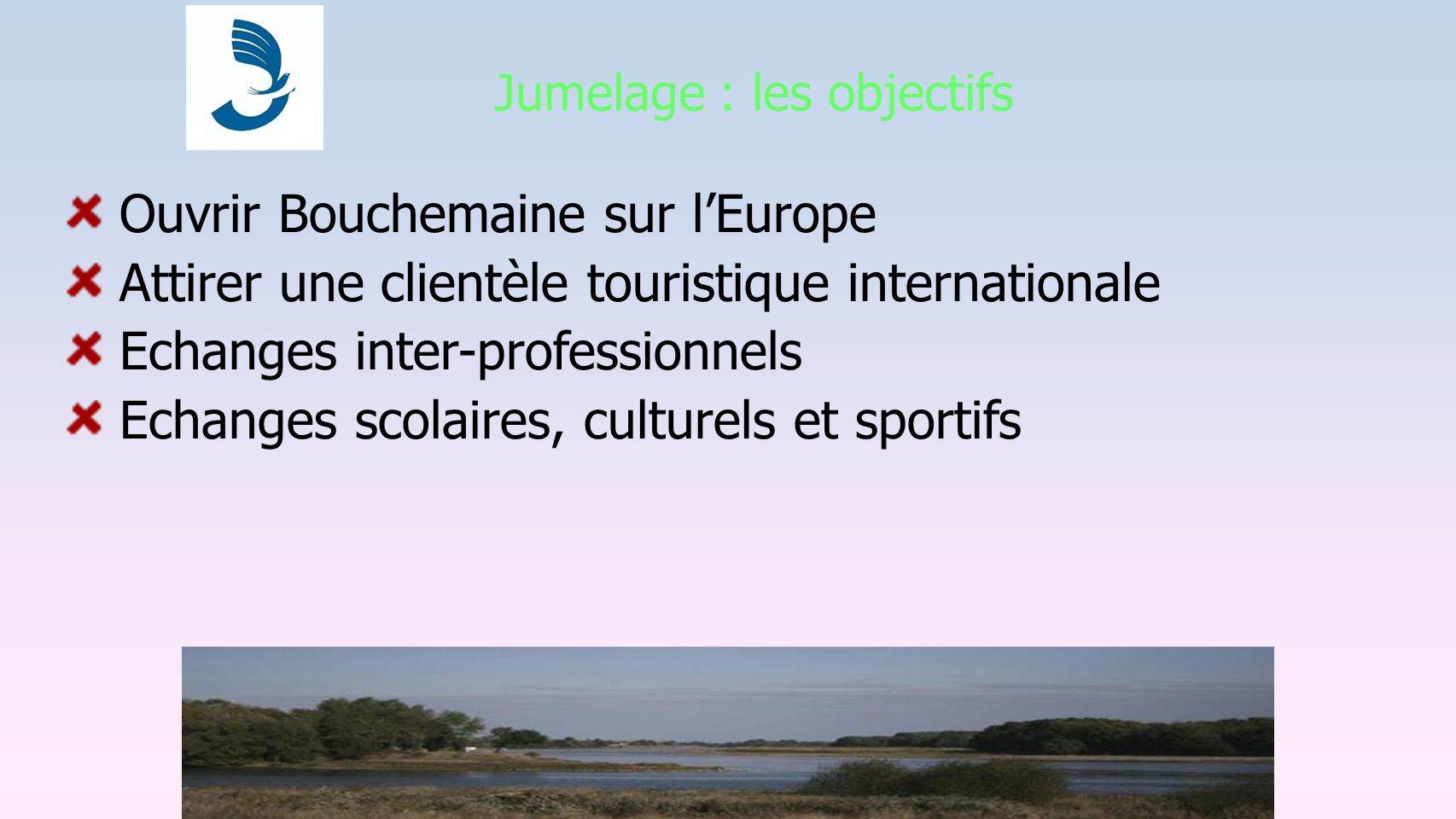 Jumelage : les objectifs Ouvrir Bouchemaine sur lEurope Attirer une clientèle touristique internationale Echanges inter-professionnels Echanges scolai