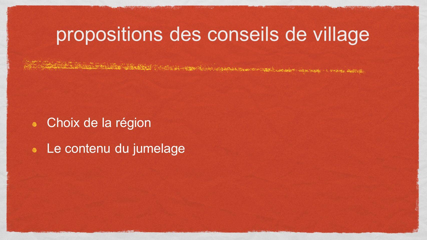 propositions des conseils de village Choix de la région Le contenu du jumelage