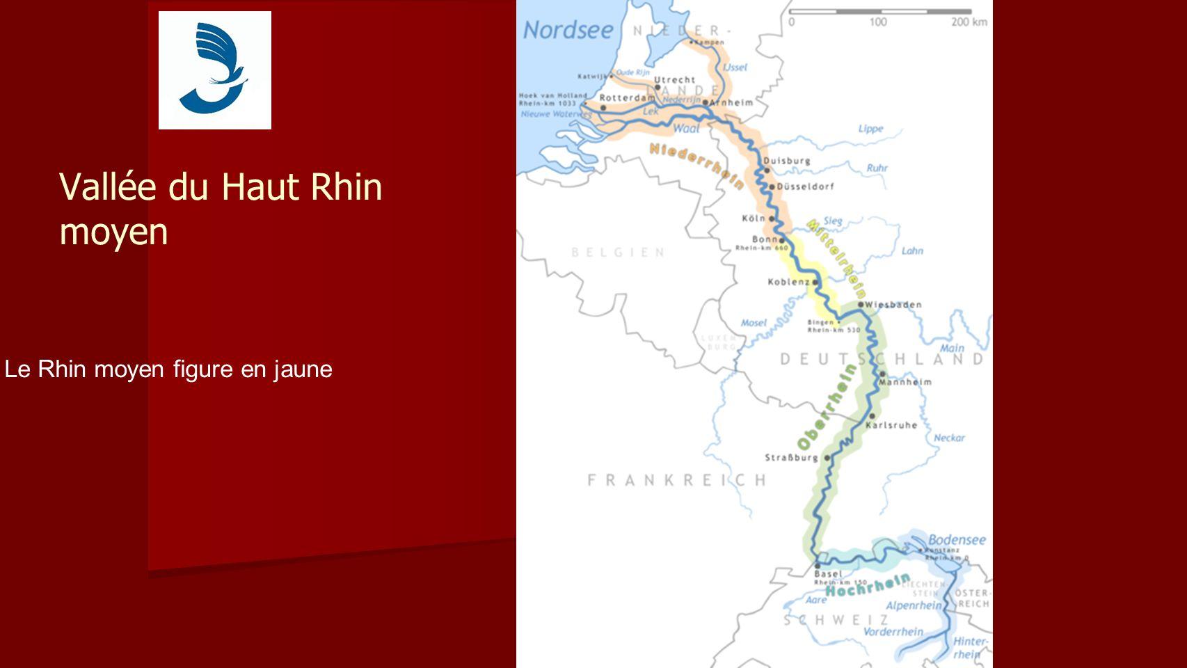 Vallée du Haut Rhin moyen Le Rhin moyen figure en jaune