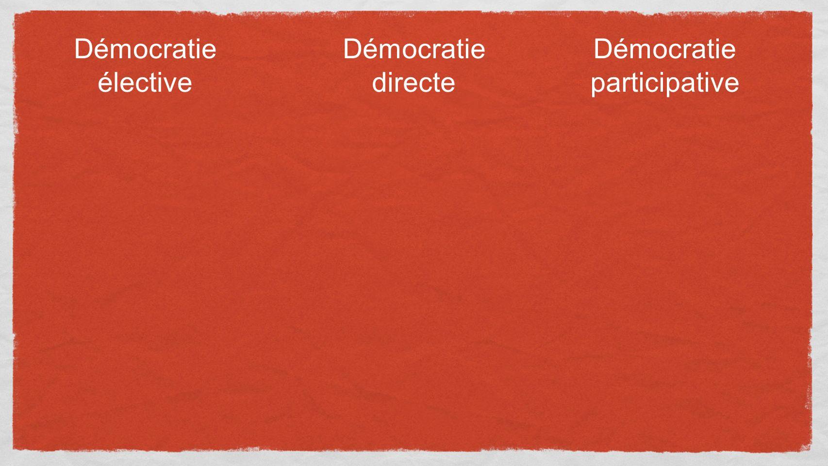 Démocratie élective Démocratie directe Démocratie participative