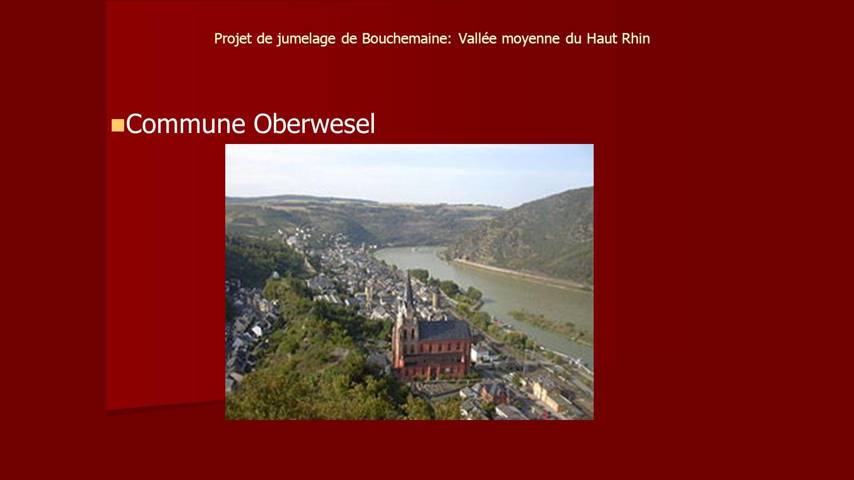 Projet de jumelage de Bouchemaine: Vallée moyenne du Haut Rhin Commune Oberwesel