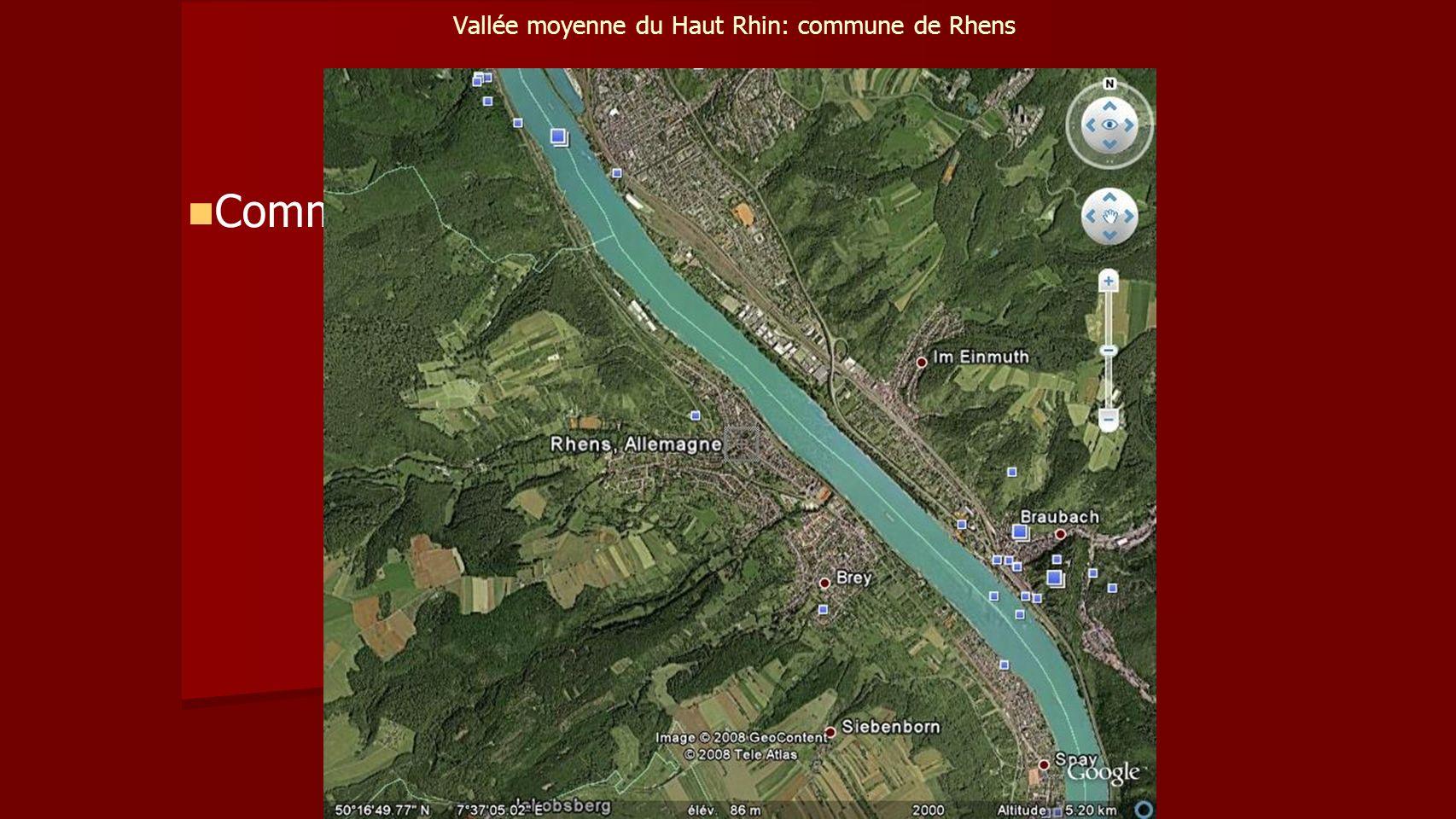 Vallée moyenne du Haut Rhin: commune de Rhens Commune Rhens