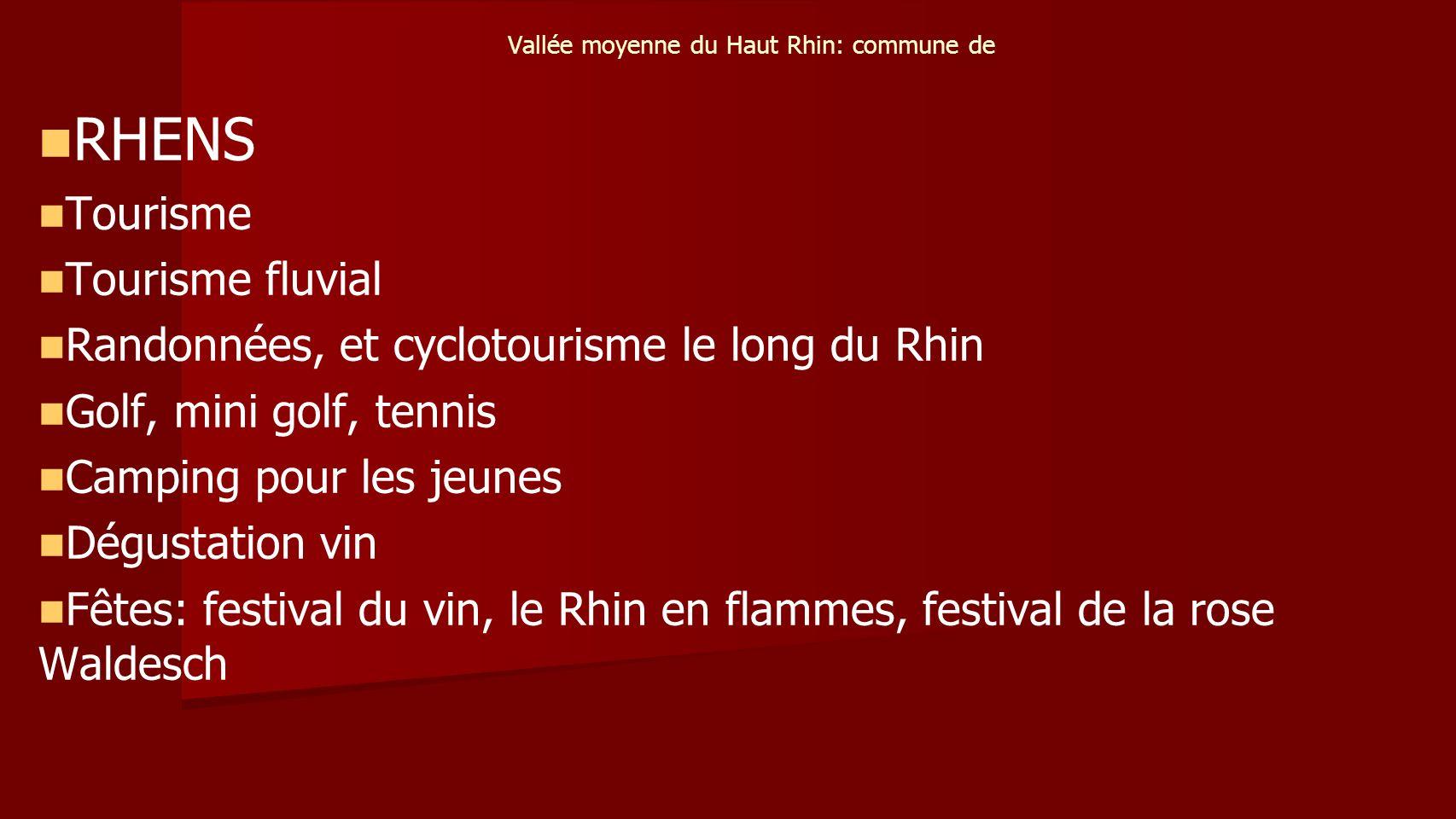 Vallée moyenne du Haut Rhin: commune de RHENS Tourisme Tourisme fluvial Randonnées, et cyclotourisme le long du Rhin Golf, mini golf, tennis Camping pour les jeunes Dégustation vin Fêtes: festival du vin, le Rhin en flammes, festival de la rose Waldesch
