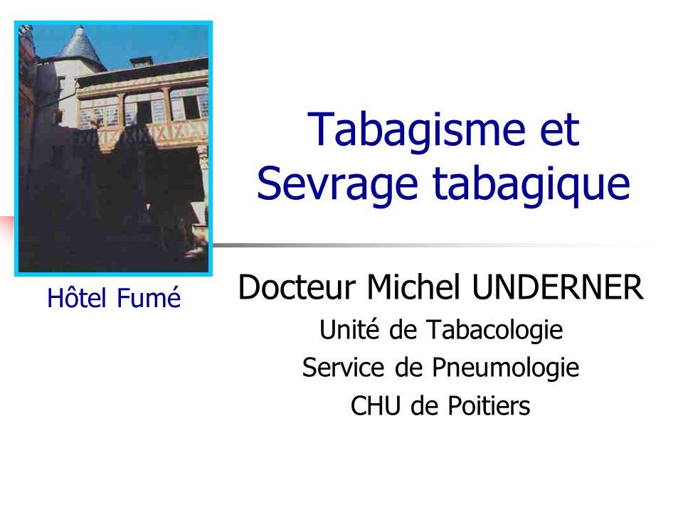 Docteur Michel Underner (Poitiers) Les 3 acteurs du tabagisme Sujet Produit : le tabac Environnement Facteurs génétiques et biologiques Facteurs acquis : Évènements de vie … Famille, amis, travail…