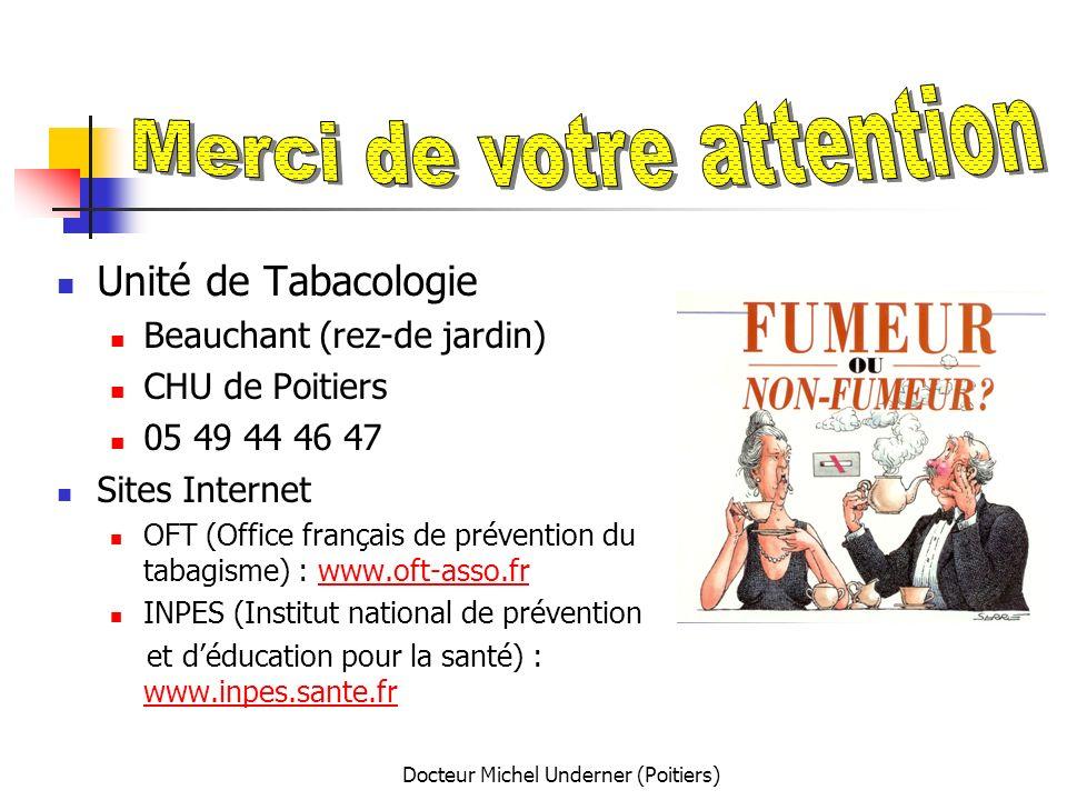 Docteur Michel Underner (Poitiers) Unité de Tabacologie Beauchant (rez-de jardin) CHU de Poitiers 05 49 44 46 47 Sites Internet OFT (Office français d