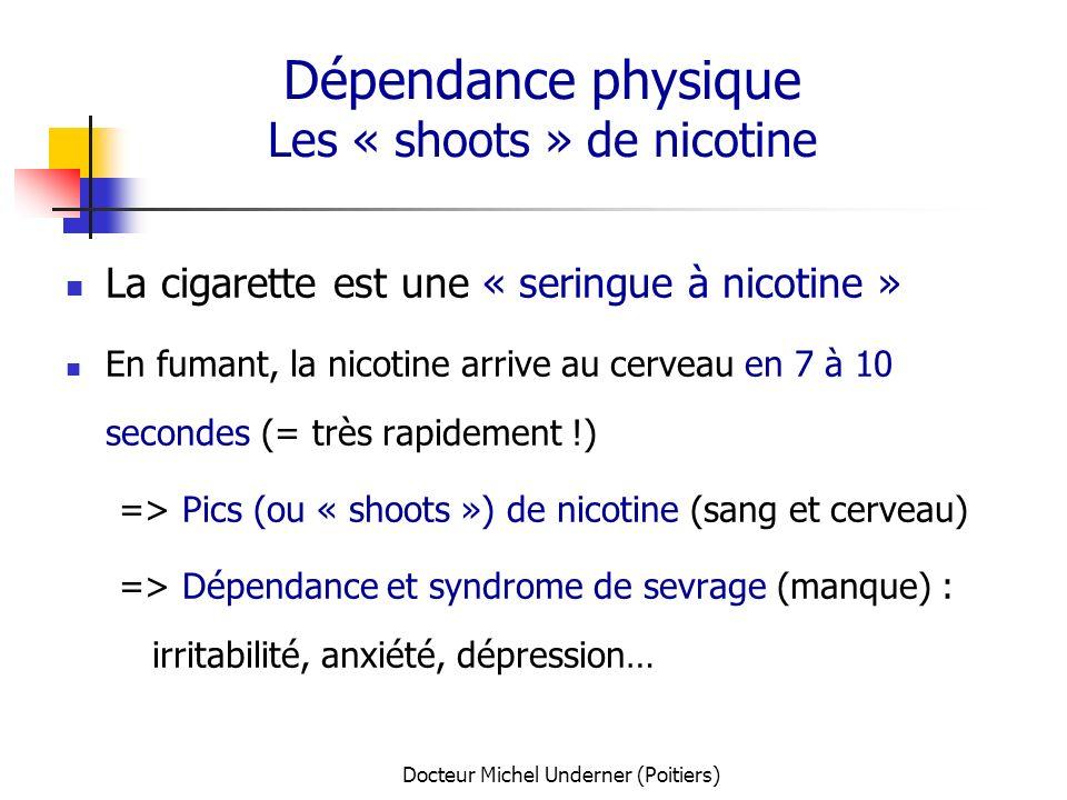 Docteur Michel Underner (Poitiers) Dépendance physique Les « shoots » de nicotine La cigarette est une « seringue à nicotine » En fumant, la nicotine
