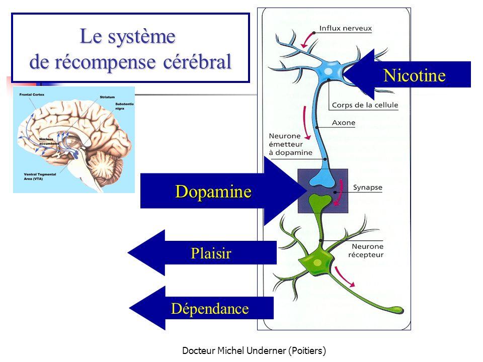 Docteur Michel Underner (Poitiers) Les 2 causes du besoin de fumer « Craving » = besoins urgent / impérieux de fumer Fumer Supprime la sensation de manque (symptômes de sevrage) Apporte des sensations positives Renforcement négatif Renforcement positif