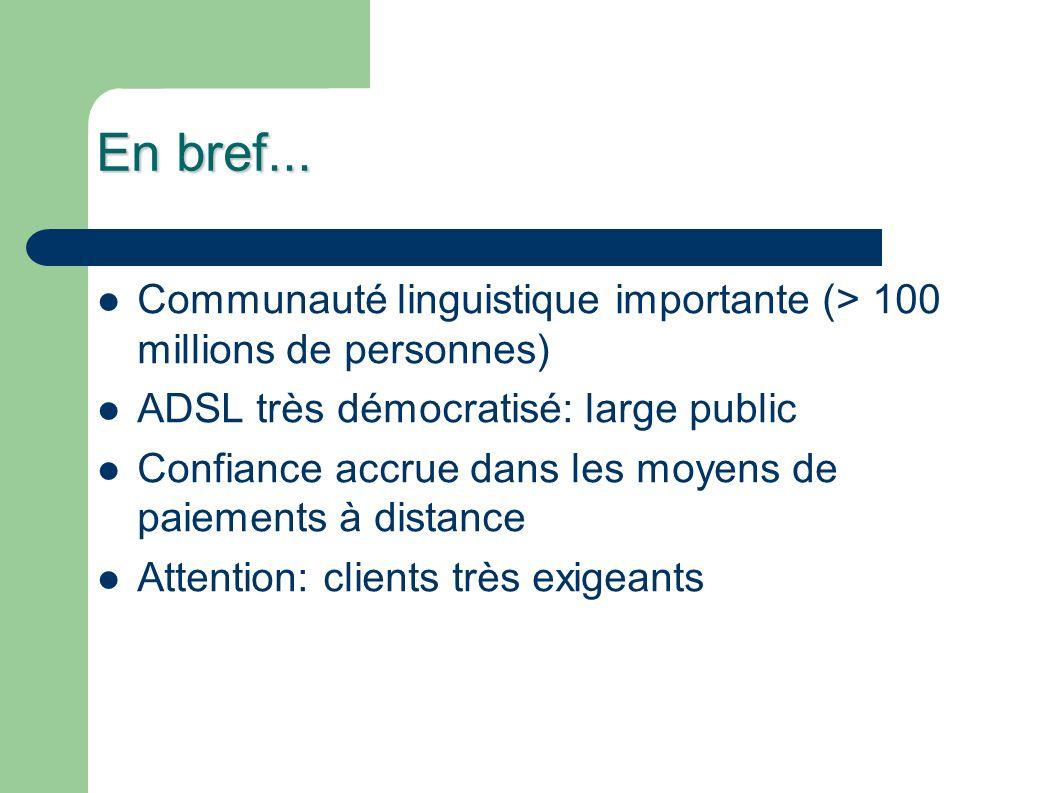 En bref... Communauté linguistique importante (> 100 millions de personnes) ADSL très démocratisé: large public Confiance accrue dans les moyens de pa