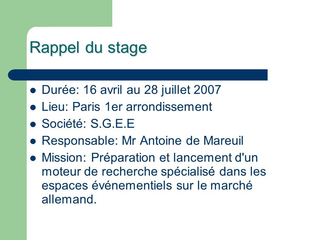 Rappel du stage Durée: 16 avril au 28 juillet 2007 Lieu: Paris 1er arrondissement Société: S.G.E.E Responsable: Mr Antoine de Mareuil Mission: Prépara