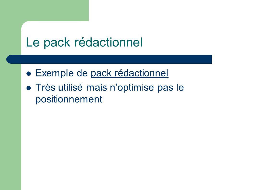 Le pack rédactionnel Exemple de pack rédactionnelpack rédactionnel Très utilisé mais noptimise pas le positionnement