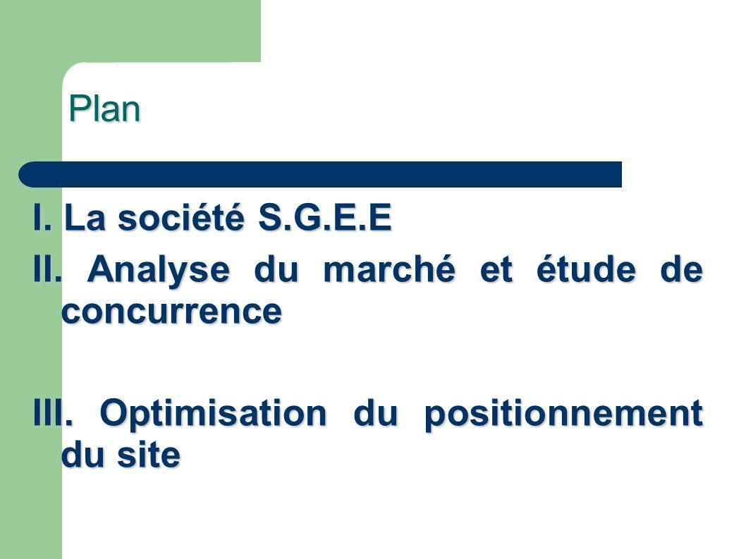 Plan I. La société S.G.E.E II. Analyse du marché et étude de concurrence III. Optimisation du positionnement du site