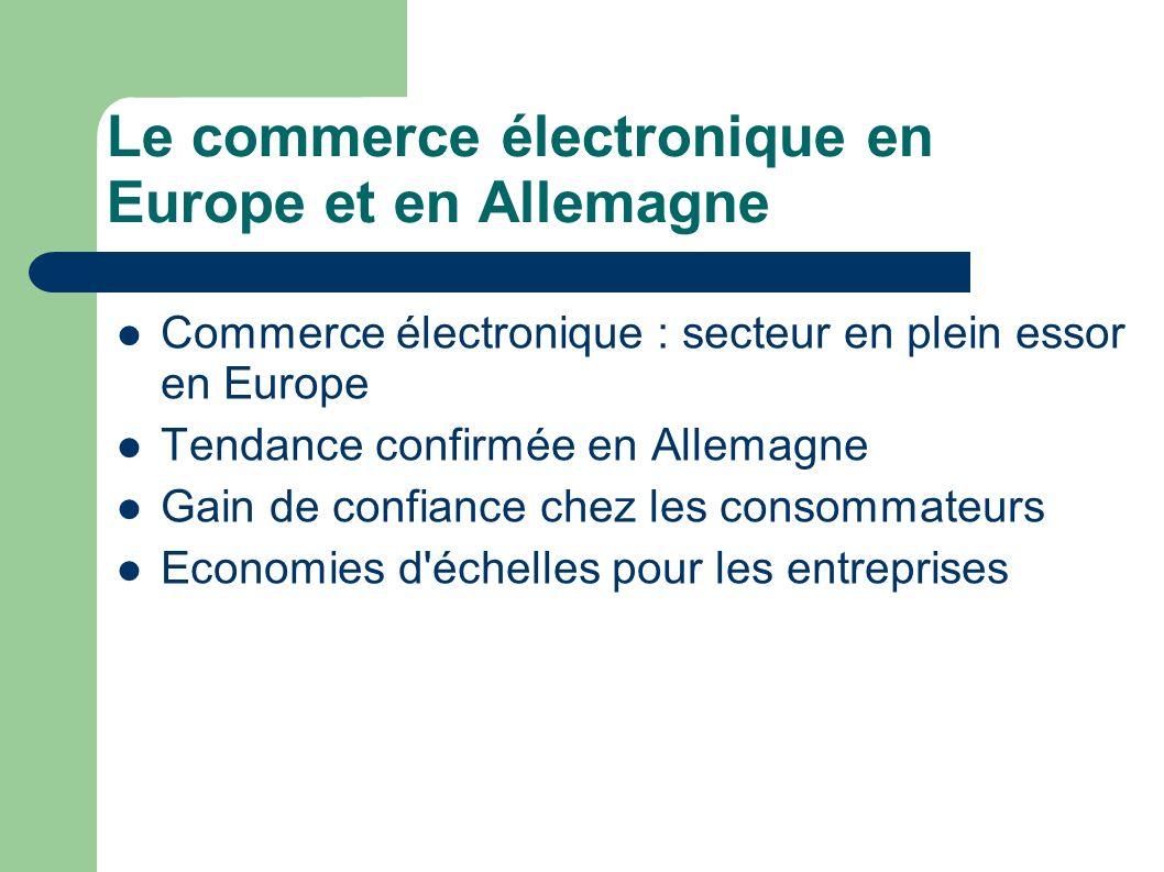 Le commerce électronique en Europe et en Allemagne Commerce électronique : secteur en plein essor en Europe Tendance confirmée en Allemagne Gain de co