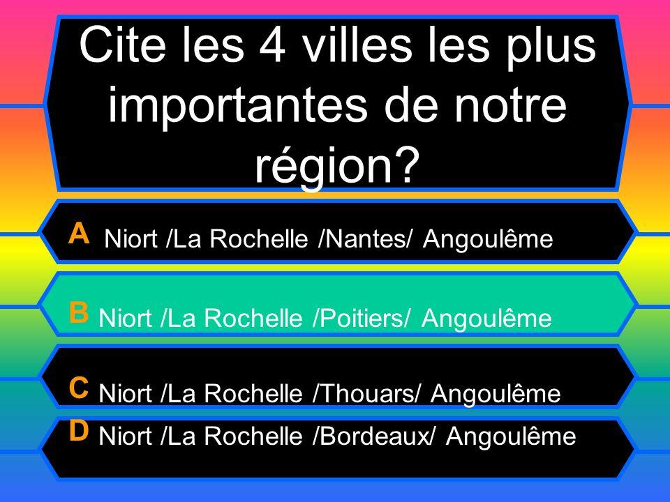 Cite les 4 villes les plus importantes de notre région.
