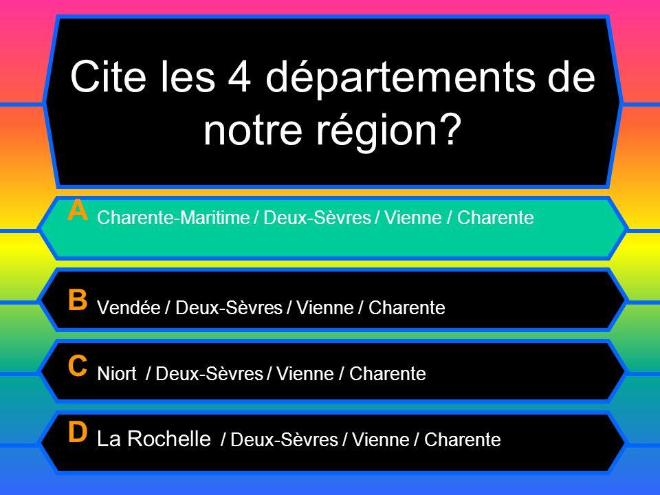 Cite les 4 départements de notre région.