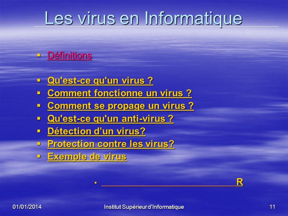 01/01/2014Institut Supérieur d'Informatique10 LA SECURITE DE SYSTEMES INTELLIGENTS LA SECURITE DE SYSTEMES INTELLIGENTS I- INTRODUCTION I- INTRODUCTIO