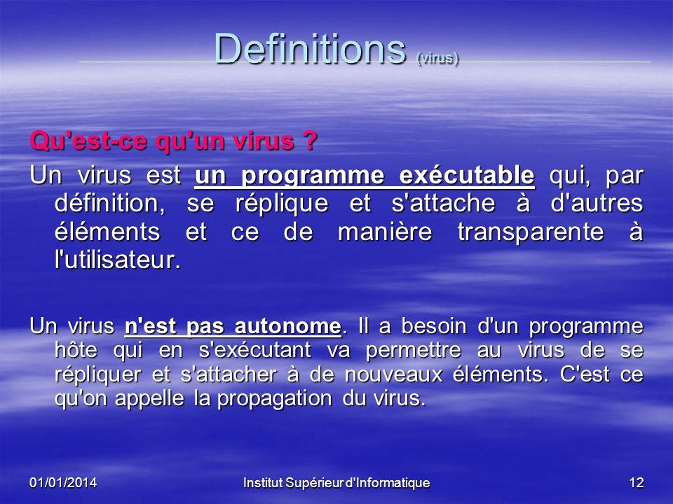 01/01/2014Institut Supérieur d'Informatique11 Les virus en Informatique Définitions Définitions Qu'est-ce qu'un virus ? Qu'est-ce qu'un virus ? Qu'est