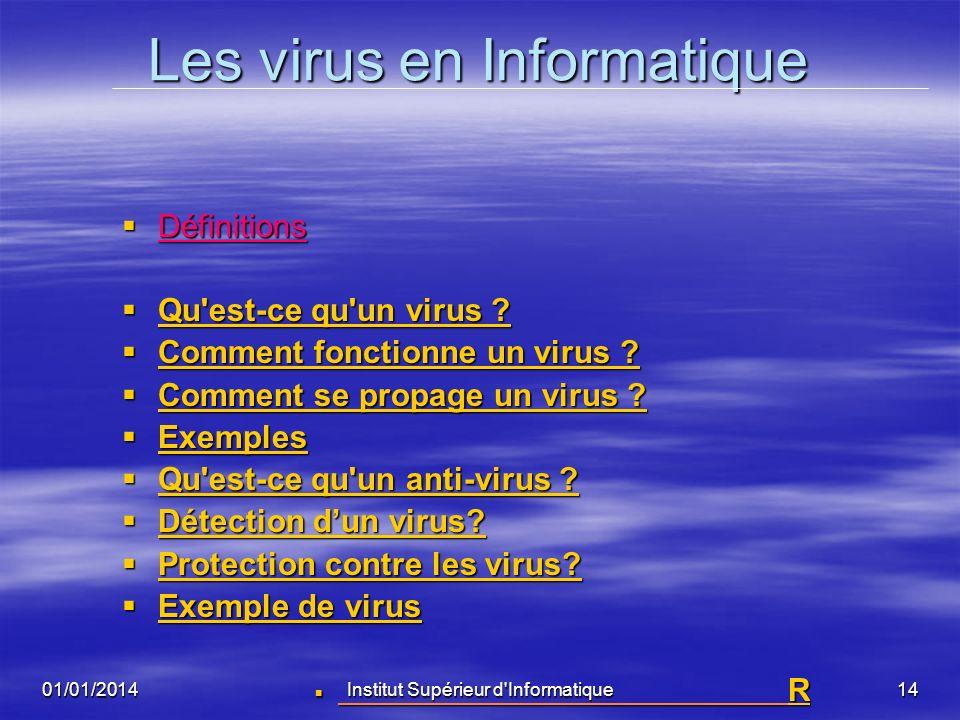 01/01/2014Institut Supérieur d'Informatique13 Définitions (suite) La plupart des virus informatiques -se contentent de se répliquer sans avoir d'effet