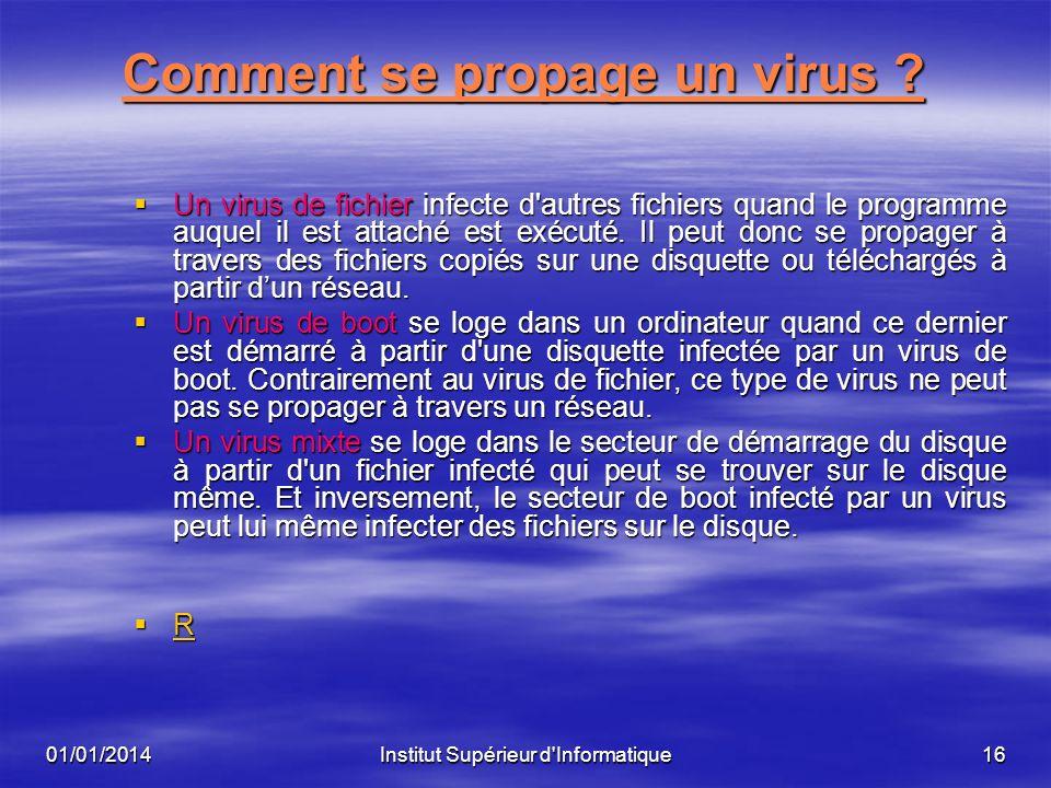 01/01/2014Institut Supérieur d'Informatique15 Comment fonctionne un virus Deux principaux types de virus existent et diffèrent par leur moyen de répli