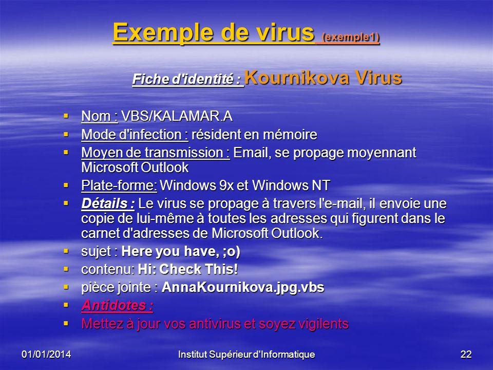 01/01/2014Institut Supérieur d'Informatique21 Protection contre les virus? Protection contre les virus? Comment se protéger contre les virus ? Comment