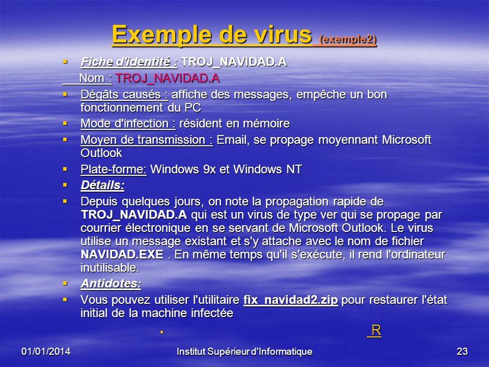 01/01/2014Institut Supérieur d'Informatique22 Exemple de virusExemple de virus (exemple1) Exemple de virus Fiche d'identité : Kournikova Virus Nom : V