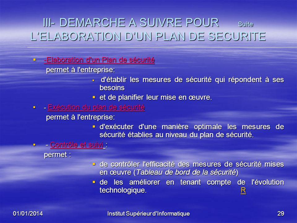 01/01/2014Institut Supérieur d'Informatique28 III- DEMARCHE A SUIVRE POUR LELABORATION DUN PLAN DE SECURITE -Analyse des risques encourus -Analyse des