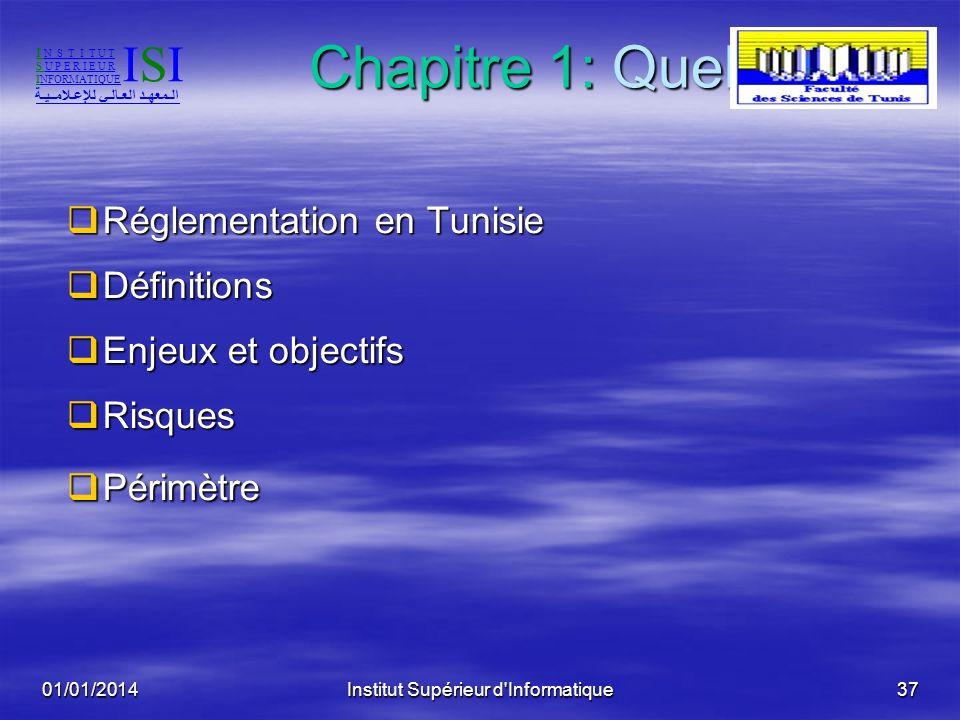 01/01/2014Institut Supérieur d'Informatique36 Sommaire Chapitre 1 Chapitre 1 Quel Audit? Quel Audit? Chapitre 2 Chapitre 2 Selon quelle démarche et av