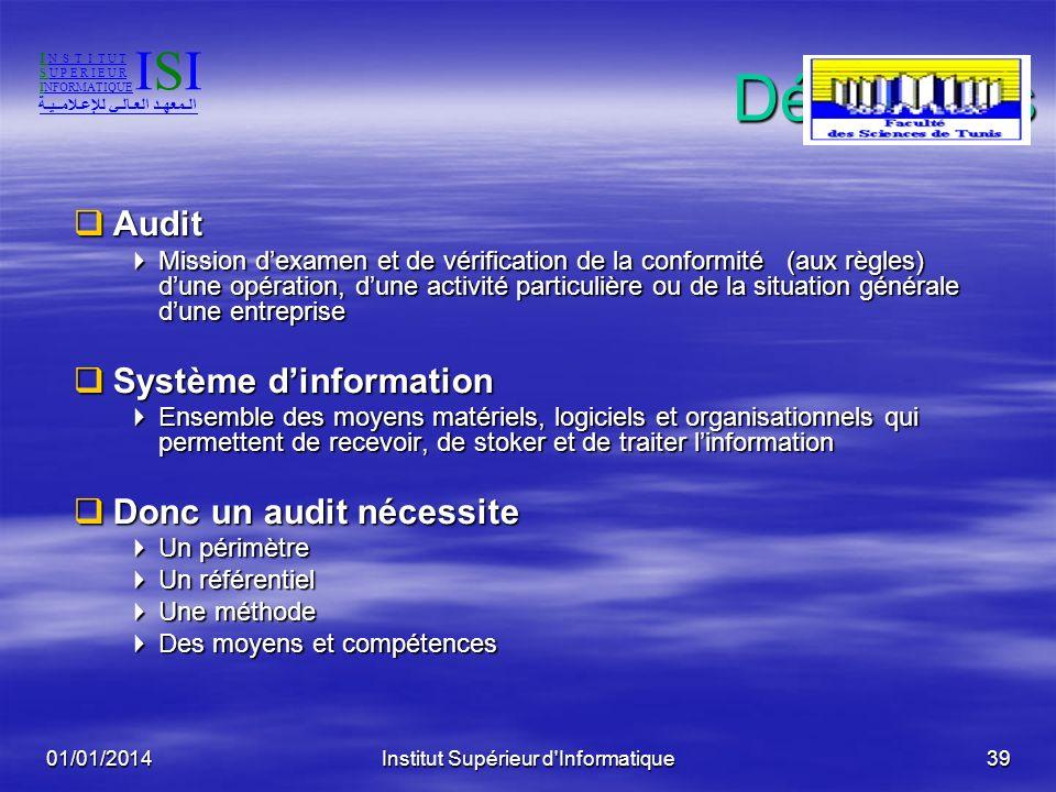 01/01/2014Institut Supérieur d'Informatique38 Réglementation en Tunisie La circulaire de monsieur le Premier Ministre N°51 du 30 Novembre 2001 portant