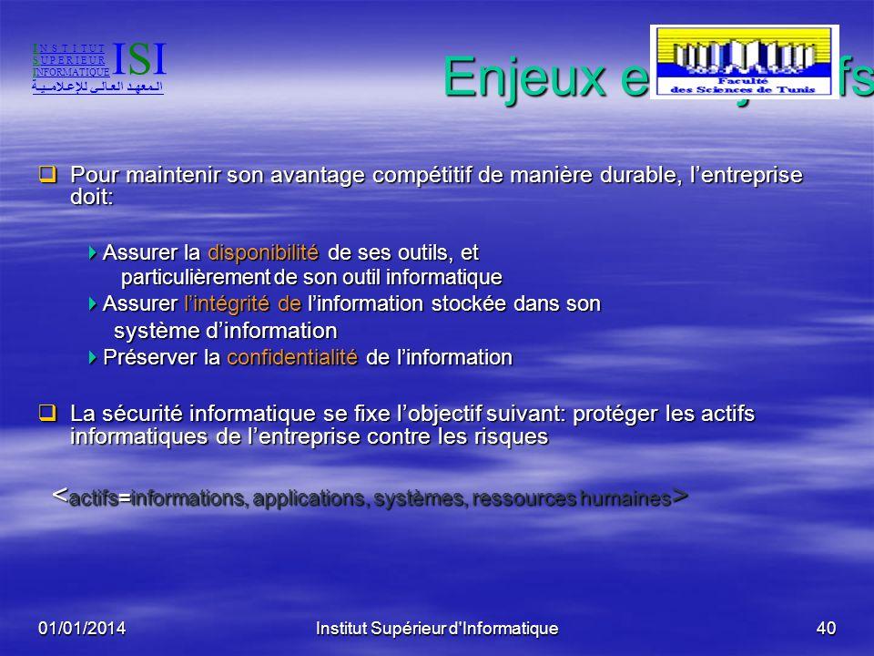 01/01/2014Institut Supérieur d'Informatique39 Audit Audit Mission dexamen et de vérification de la conformité (aux règles) dune opération, dune activi