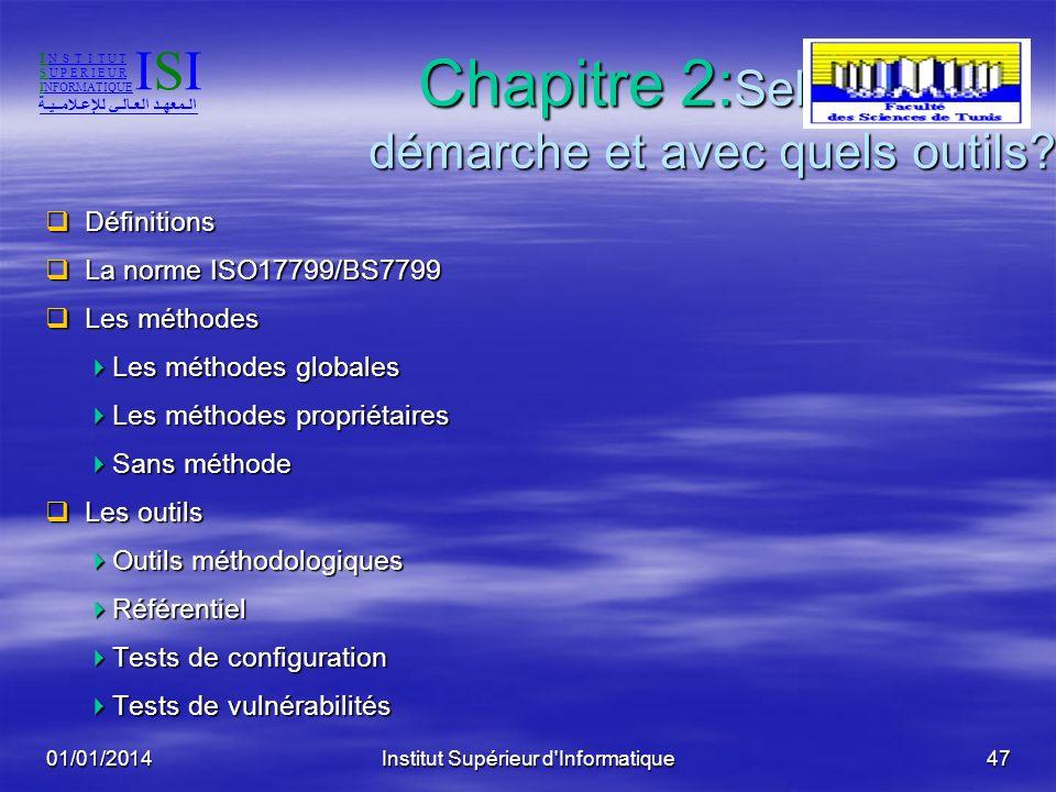 01/01/2014Institut Supérieur d'Informatique46Périmètre La sécurité des systèmes La sécurité des systèmes Matériels (postes de travail et serveurs) Mat