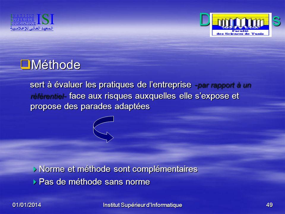 01/01/2014Institut Supérieur d'Informatique48Définitions Norme Norme code de bonnes pratiques de sécurité du système dinformation : code de bonnes pra
