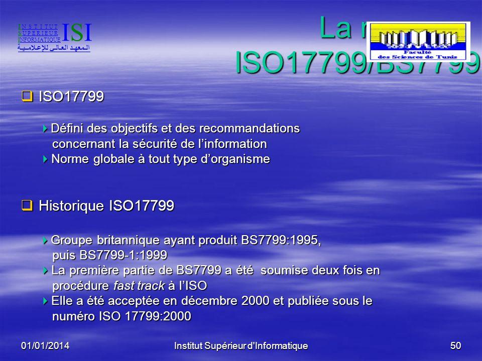 01/01/2014Institut Supérieur d'Informatique49Définitions Méthode Méthode sert à évaluer les pratiques de lentreprise - par rapport à un référentiel -