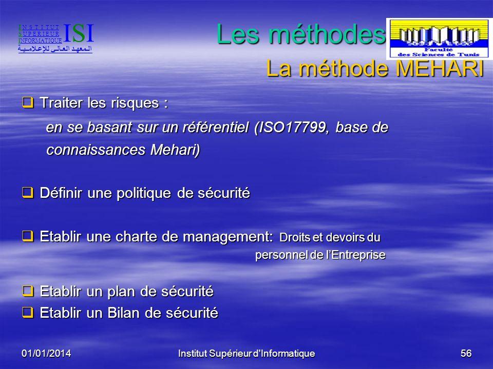 01/01/2014Institut Supérieur d'Informatique55 Les méthodes globales: La méthode MEHARI causes conséquences I N S T I T U T S U P E R I E U R INFORMATI