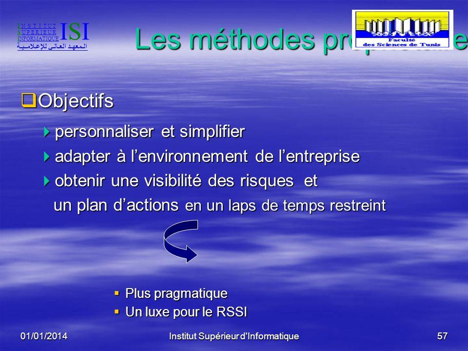 01/01/2014Institut Supérieur d'Informatique56 Les méthodes globales: La méthode MEHARI Traiter les risques : Traiter les risques : en se basant sur un