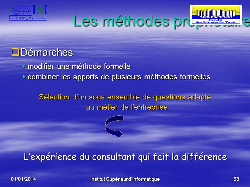 01/01/2014Institut Supérieur d'Informatique57 Les méthodes propriétaires Objectifs Objectifs personnaliser et simplifier personnaliser et simplifier a