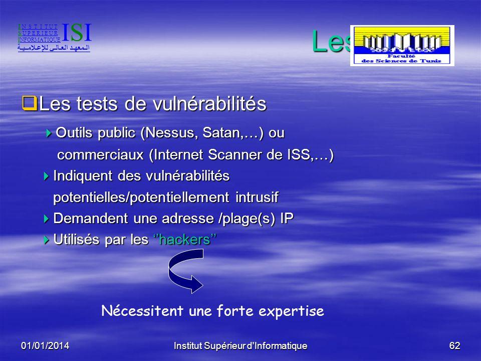 01/01/2014Institut Supérieur d'Informatique61 Les outils Les tests de configuration Les tests de configuration Otuils pour Windows, Unix Otuils pour W