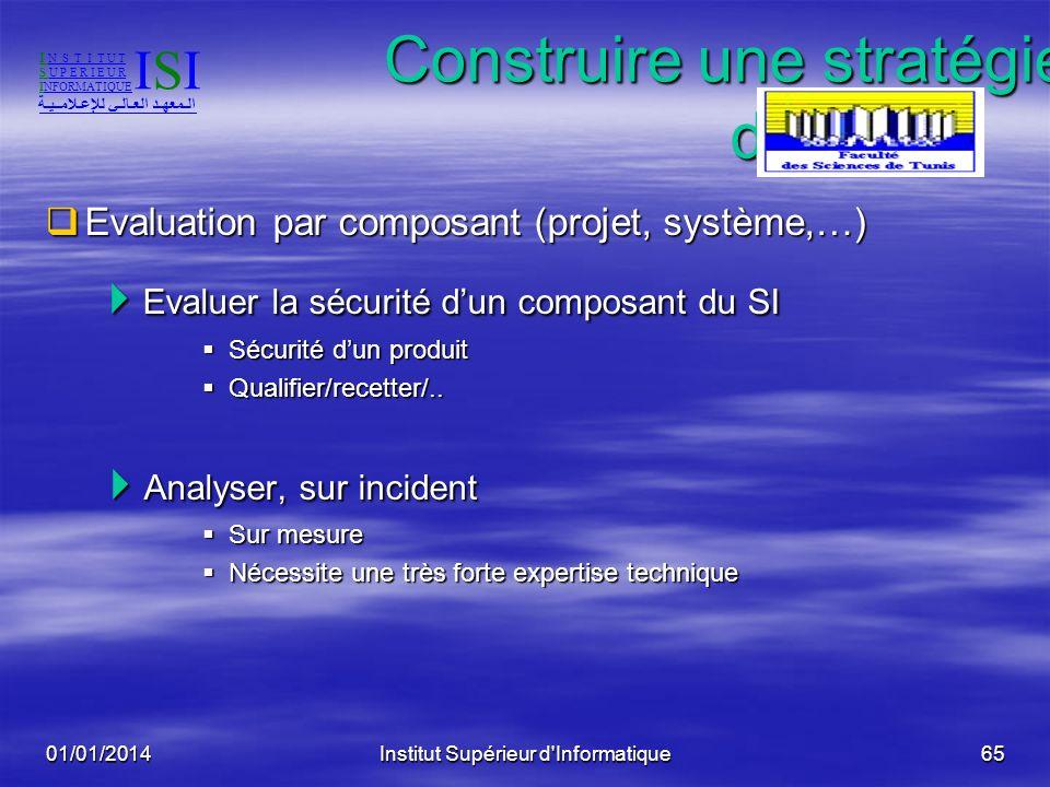 01/01/2014Institut Supérieur d'Informatique64 Construire une stratégie daudit Evaluation globale de la sécurité du SI Evaluation globale de la sécurit