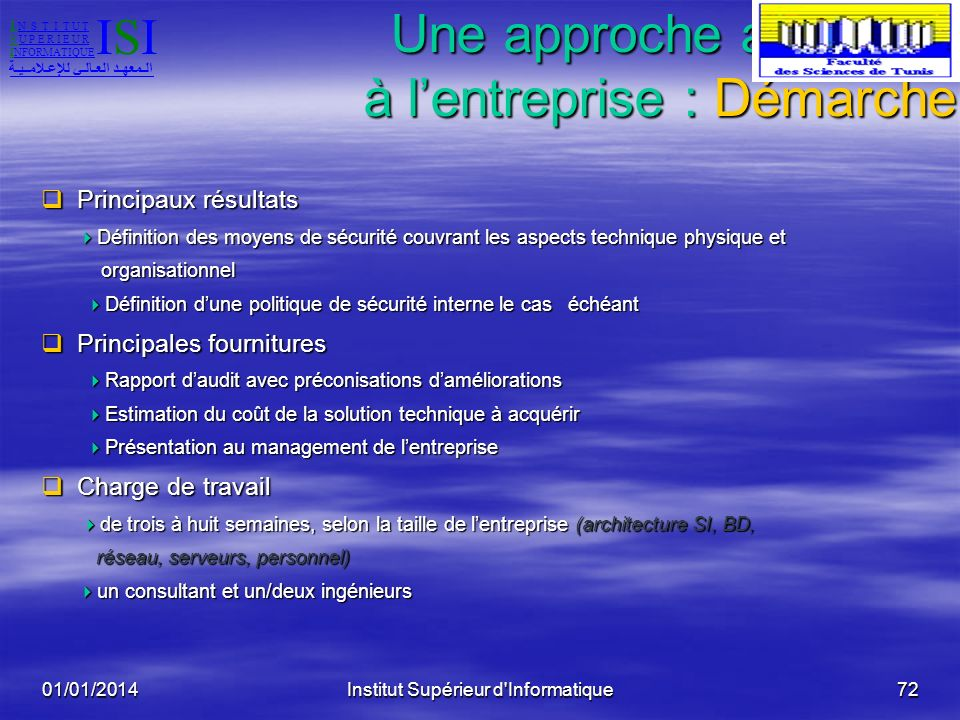 01/01/2014Institut Supérieur d'Informatique71 Une approche adaptée à lentreprise :Démarche La méthode est basée sur le référentiel ISO17799 et lexpéri