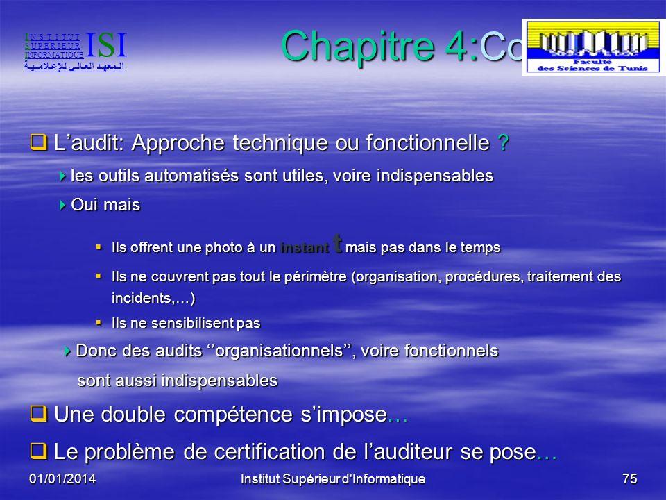 01/01/2014Institut Supérieur d'Informatique74 Chapitre 4: Conclusion Laudit reste: Laudit reste: une affaire de méthode une affaire de méthode une pre