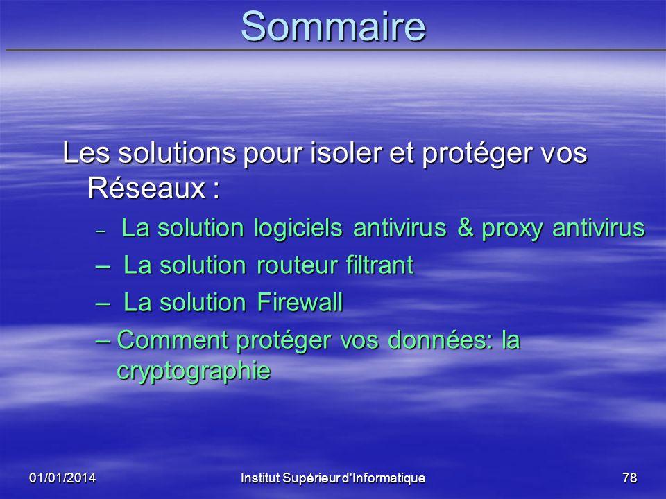 01/01/2014Institut Supérieur d'Informatique77 Les Solutions pour Isoler et Protéger Les Réseaux